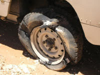 Our first puncture in Namibia