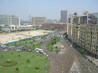 The Egyptian Museum (red building) from the hotel looking over Tahrir Square
