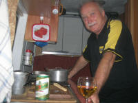 Pieter cooking in the van and THE GLASS