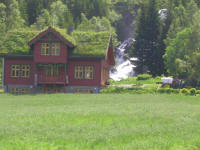 Norwegian house with its own waterfall