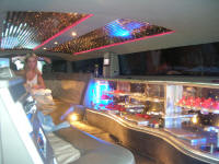 Inside a stretch limousine