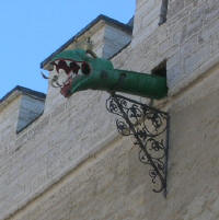 Dragon head water spout on Town Hall
