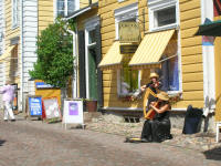Busker in old Porvoo