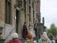 A wedding at the Veere Town Hall. They had a 4 window limosine - small one