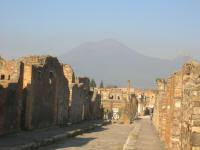 Typical street with Vesuvius in the background