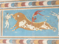 Fresco of men dancing on the bull