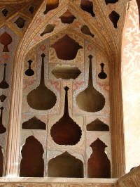 Ali Qapu Palace - music room walls are covered with cut out shapes of vases and other household utensils