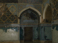 Blue Mosque interior showing original tiles and renovation