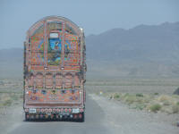 Following a decorated truck