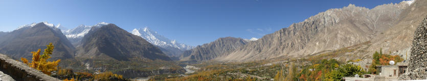 Hunza Valley. L to R, Diran Peak, Rakaposhi (7827m) the snow covered mountain in the centre