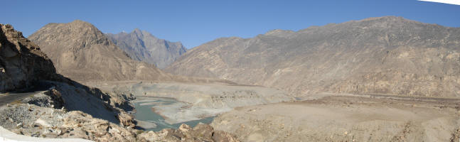 L to R Karakorum, Himalaya (the grey section in the middle) Hindu Kush