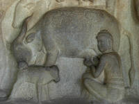 From the Krishna Mandapam, showing a man milking a cow