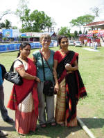 Two women in traditional Assamese saris