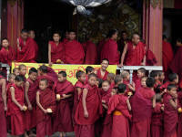 Monks waiting to enter the Gompa