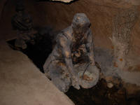 A model of a woman using the water