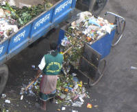 Transporting garbage to the collection point across from the hotel