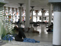 Masjid Jamek -Muslim  men only area waiting for prayer time!
