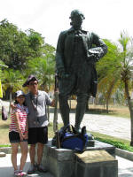 Statue of Captain Light at Fort Cornwallis, made in 1938 to commemorate the 150th anniversary of his landing