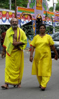 Walking tothe temple. Yellow was a very popular colour