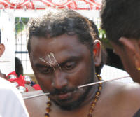 Many devotees carrying Kavadis alsohad their cheeks pierced