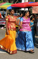 Women in colourful new clothes