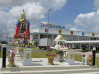 Elaborate shrines at Tesco Lotus