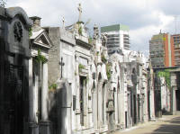 A row of mausoleums