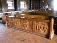 Carved wooden seats