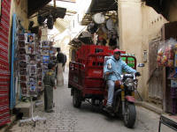 Modern transport in the narrow streets